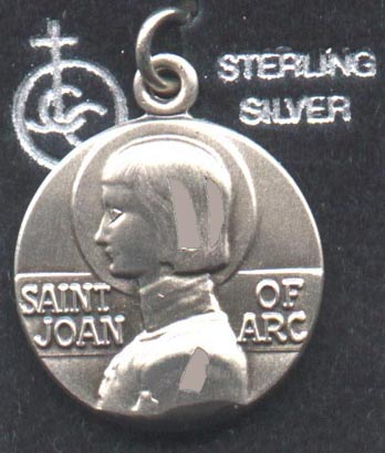 Saint joan of arc centers art emporium this american made sterling silver medal of saint joan is 34 inch in diameter written in english across the center is saint joan of arc there is no aloadofball Gallery