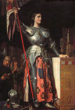 Ingres' painting showing Joan of Arc in a long flowing skirt.